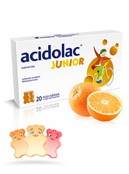 Acidolac<sup>®</sup> Junior - 20 misio-tabletek <br>o smaku pomarańczy