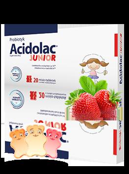 Probiotyk<br>Acidolac<sup>®</sup> Junior - 20 misio-tabletek <br>o smaku truskawkowym