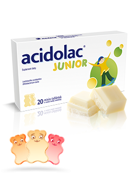 Acidolac<sup>®</sup> Junior - 20 misio-tabletek <br>o smaku białej czekolady